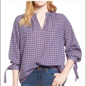 MADEWELL Whitney Red Blue Plaid Popover Top